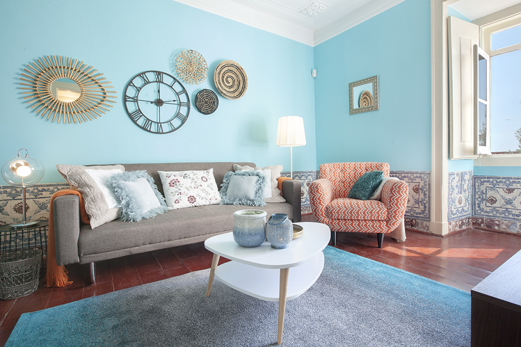 The stylish living room in our Saudade apartment in Lisbon