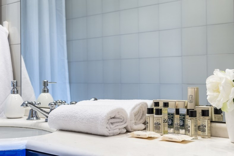 Towels and L'Occitane products are available in each Sweet Inn apartment